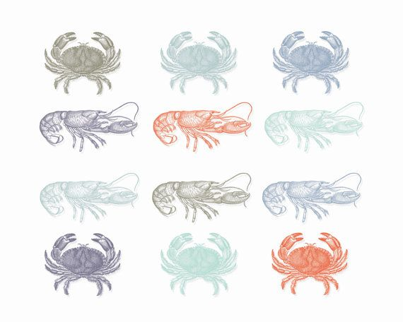 INSTANT DOWNLOAD // Lobster Clipart // Clip by VintagePaperPegasus, $3.00 #nautical #clipart #sea #summer #crabs #lobster