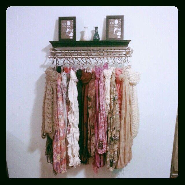 Scarf organizer diy pinterest industrial scarf for Scarves hanger ikea
