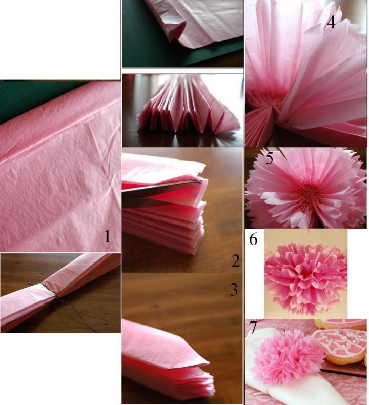 Pompon en papier crépon pour décorer la chambre des enfants !