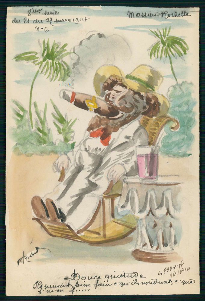 art Roberty Rochette France Political comic cartoon 1914 Hand Painted postcard