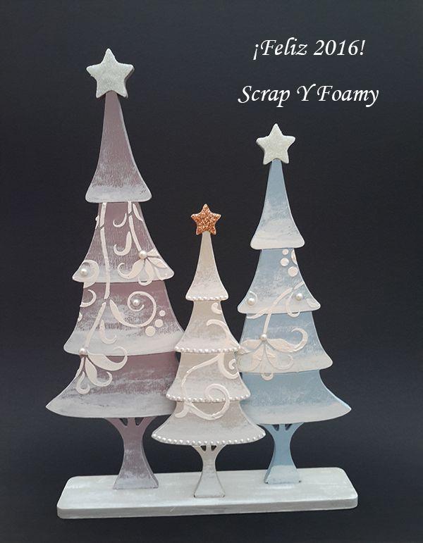 Arboles de Navidad  en madera de chopo con riel de Daykatrade