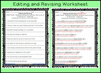 002 {freebie} revising and editing worksheets