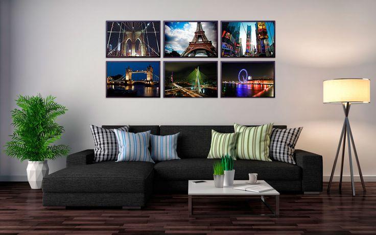 Kit com 6 Quadros Decorativos Cidades Londres Paris Nova York São Paulo 60x90cm - Decore Pronto