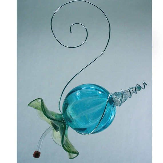 Blown Glass Hummingbird Feeder by Oberini on Etsy, $60.00