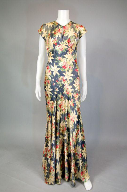1930's bias cut floral silk dress