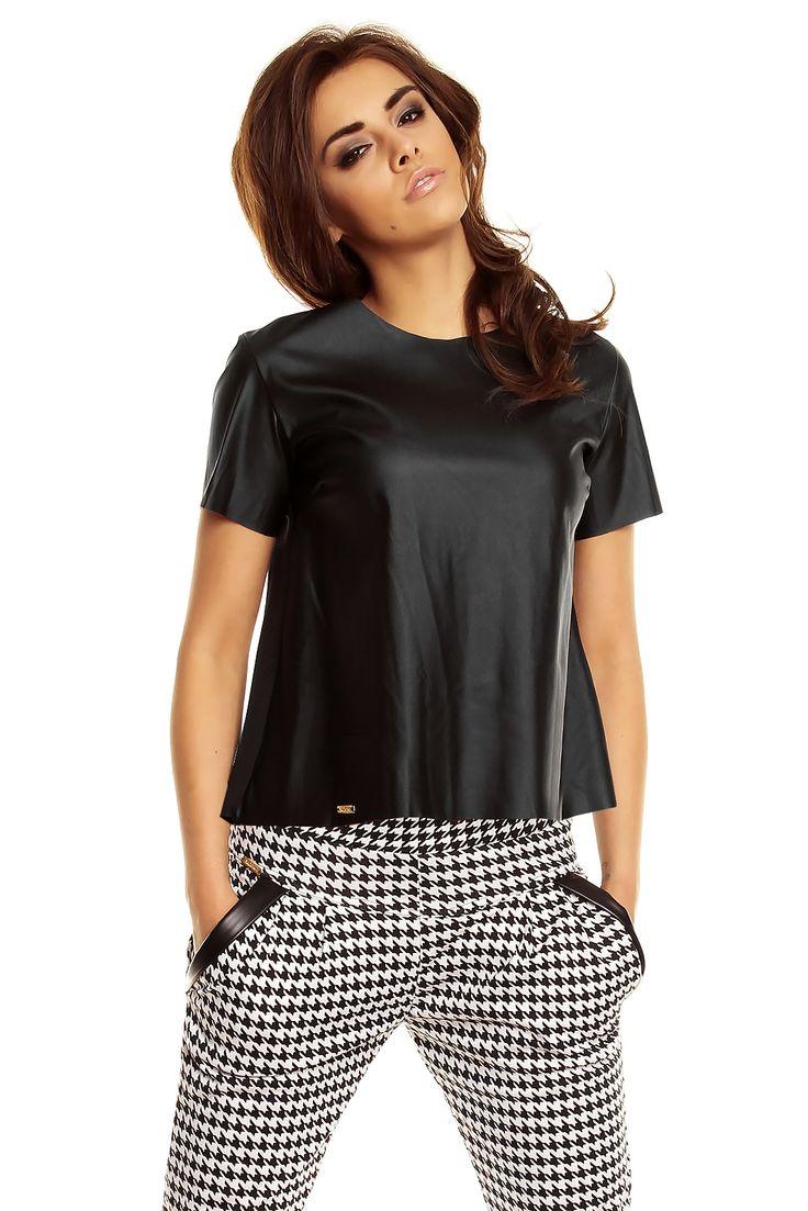 Czarna bluzka ze skóry KM136 , Bluzki - Kartes-Moda