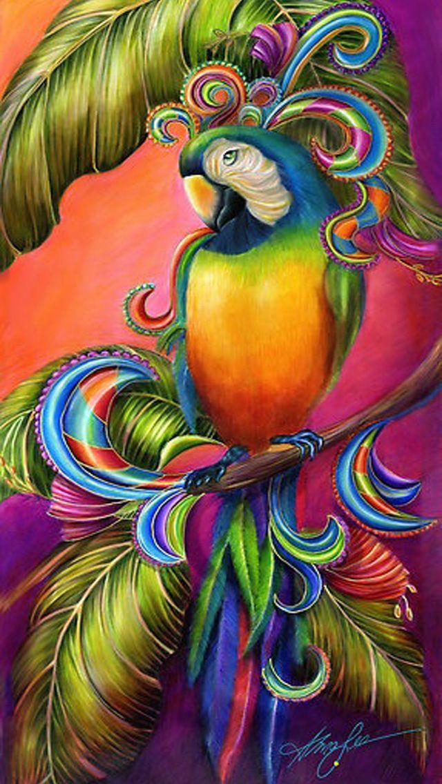 Colorful Tropical Parrot iPhone Wallpaper Bird art
