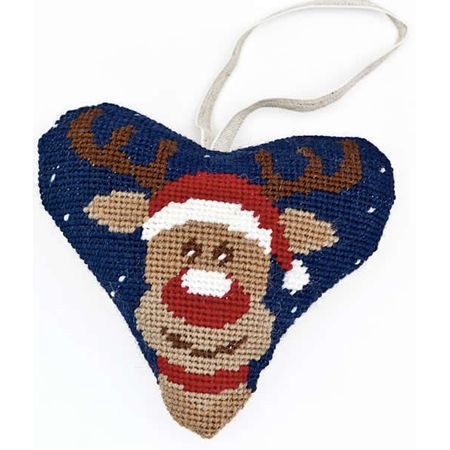 Create your own unique Christmas decoration with this Rudolph tapestry heart kit which comes with everything you need to craft it and hang it up.