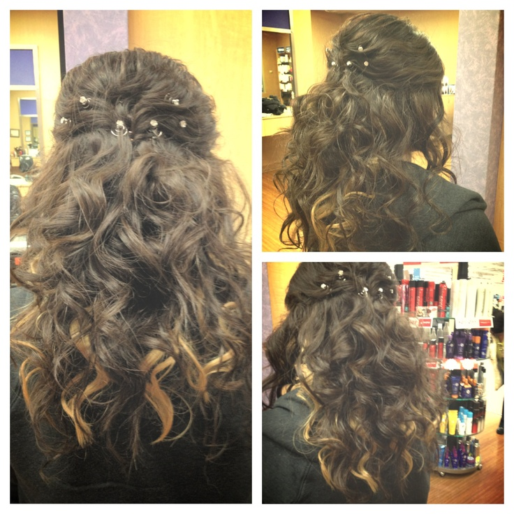 Prom hairstyle I did at work today! Half up Half down with ...