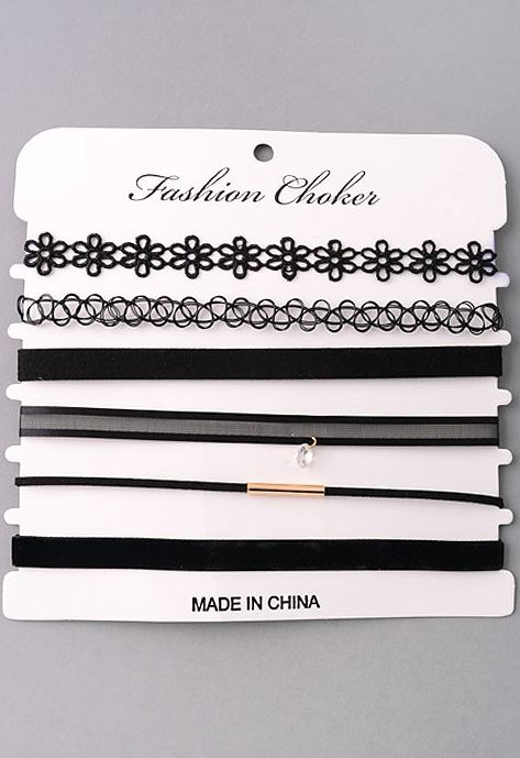 """You simply can't go wrong with this black variety chocker set of 6. Length: Approx 12"""" + 2"""" Extension."""