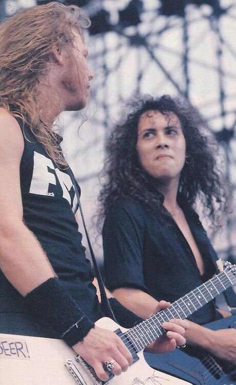 James Hetfield and Kirk Hammett - Monsters of Rock Tour, 1988.