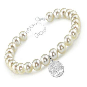 A beautifully delicate sterling silver and pearl bracelet with a sterling silver 'Laughing Buddah' charm and sparkling birthstone Swarovsk crystal drop. Available in adult and child sizes. Perfect gift for special occasions.