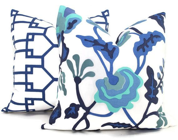 Queen Throw Pillows : Quadrille New Blue Brighton Pillow Cover Square, Eurosham or Lumbar pillow Accent Pillow, Throw ...