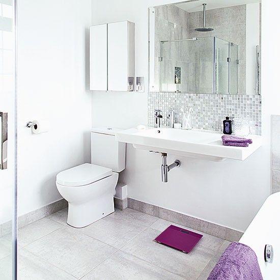 white bathroom with large basin and purple accents kupatilo rh pinterest com