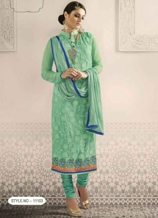 Peppy Turquoise Faux Georgette Embroidery Work  Churidar Suit http://www.angelnx.com/Salwar-Kameez/Churidar-Suits