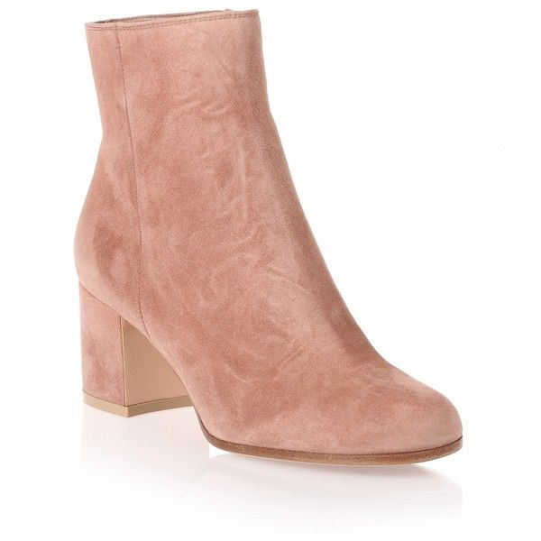 Gianvito Rossi Margaux dark nude suede ankle boot (1 660 BGN) ❤ liked on Polyvore featuring shoes, boots, ankle booties, beige, beige booties, suede ankle boots, beige suede booties, suede boots and block heel booties