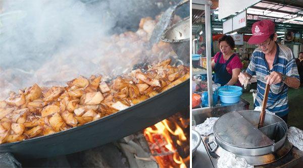 Char koay kak at Kimberley Street (left). Hokkien mee at Swee Kong Coffee Shop in Pulau Tikus