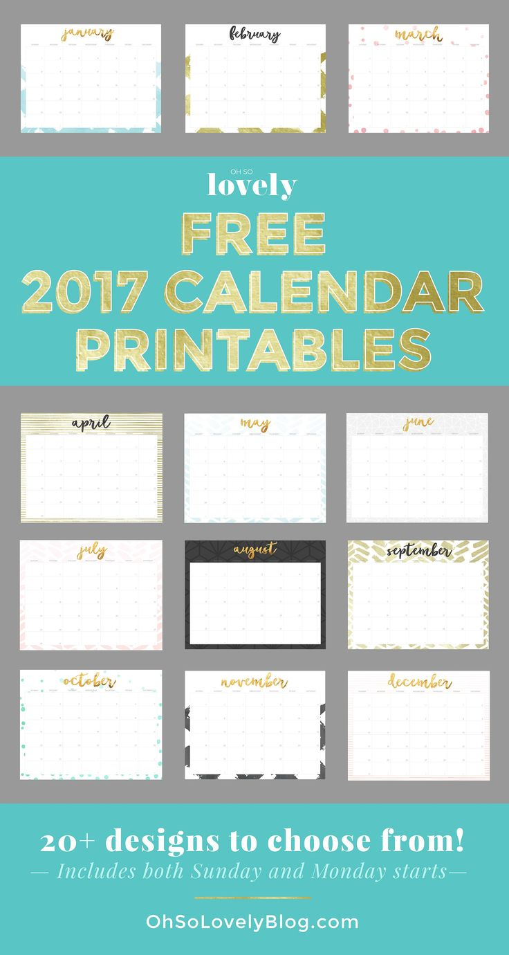 23 Free 2017 Calendar Printables | Mom Spark - A Trendy Blog for Moms - Mom Blogger