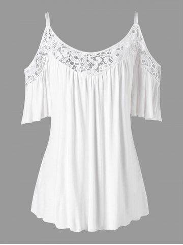 Cold Shoulder Plus Size Half Sleeve Blouse - WHITE - XL