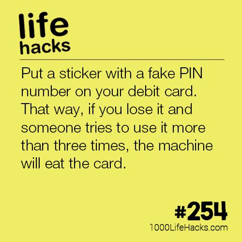 The post #254 – Avoid Getting Your Debit Card Stolen appeared first on 1000 Life Hacks.