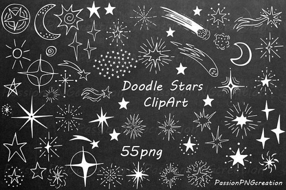 White Doodle Stars Clipart, Hand Drawn stars, digital star clip art, PNG, Photoshop Overlays, For Personal and Commercial Use