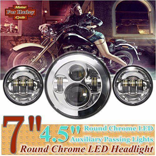 AUDEW 7'' Round Chrome LED Faro Anteriore + 2 PCS 4.5'' Round Chrome LED Fanale Laterale Ausiliario Passando Illumina per Harley-Davidson Moto, http://www.amazon.it/dp/B01CYD95LU/ref=cm_sw_r_pi_awdl_D6ruxb66XARVQ