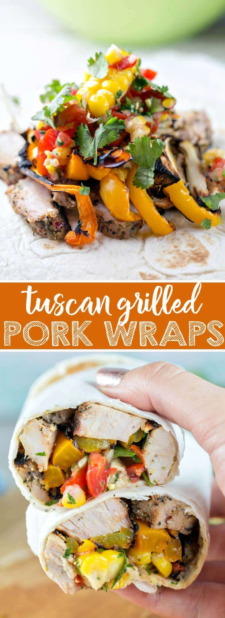 Grilled Pork Tenderloin Wraps: tuscan herb pork tenderloin with grilled peppers and onions and a homemade corn salsa wrapped in a corn tortilla. Perfect for dining on the go - great for picnics and packed lunches! {Bunsen Burner Bakery} via @bnsnbrnrbakery [ad]  #SimplyTastyPork #ResetTheTable @hatfieldmeats