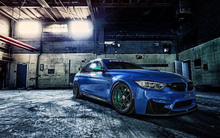 BMW M3, supercars, F80, tuning, 2017 cars, blue m3, BMW
