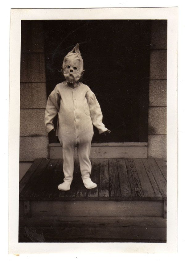 """""""I'm excited by pictures where I can see a natural mutation has occurred, not just in the condition of the photograph, with mould spots and tears creating new and unimagined landscapes, but also from the passing down and inheritance of a costume, perhaps over many years.""""    — Ossian Brown"""