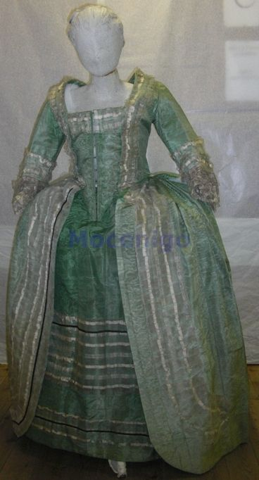 Lovely green and silver. Gown, ca. 1780; Centro Studi di Storia del Tessuto e del Costume Cl. XXIV, n. 0238