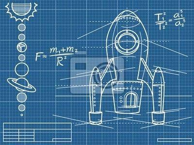 Fotomural plan con la nave espacial y los planetas - tierra • PIXERS.es