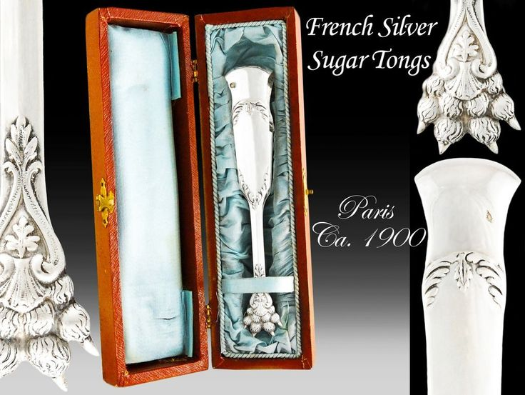 Boxed French Solid Silver Neoclassical Sugar Tongs - Lion Paw Feet - Ca.1900