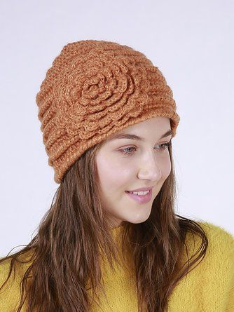 5e96b7bd920896 Knitted Casual Floral Hats. Knitted Casual Floral Hats Winter Knit ...