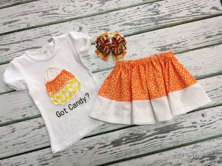 Baby Girls Halloween outfit, Baby Girl Clothes, Fall Outfits for Girls, Baby Girl Skirt, Shabby Candy Corn Shirt, Hair Bow, Pick & Choose by BetterThanBows on Etsy