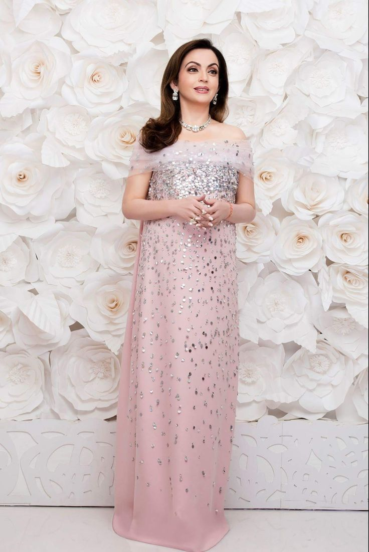 Mrs. Nita Ambani stunned in Oscar de la Renta Couture as she played gracious host at the glamorous pre-wedding celebrations for her niece Isheta in Mumbai, India.