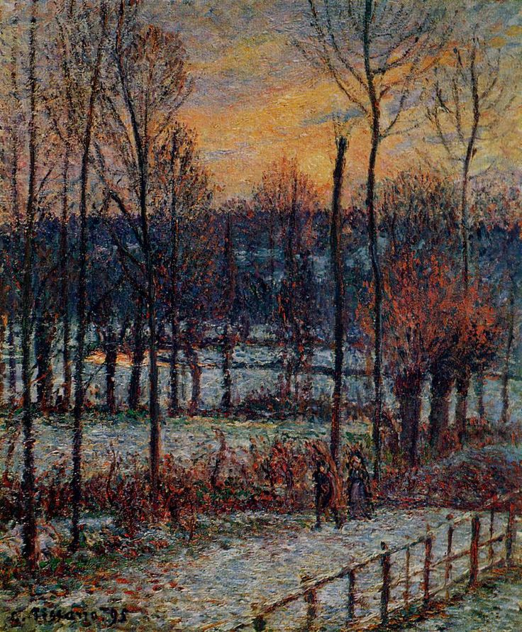 Camille Pissarro (French, Impressionism, 1830-1903): The effect of snow, sunset, Eragny, 1885. - Google Search