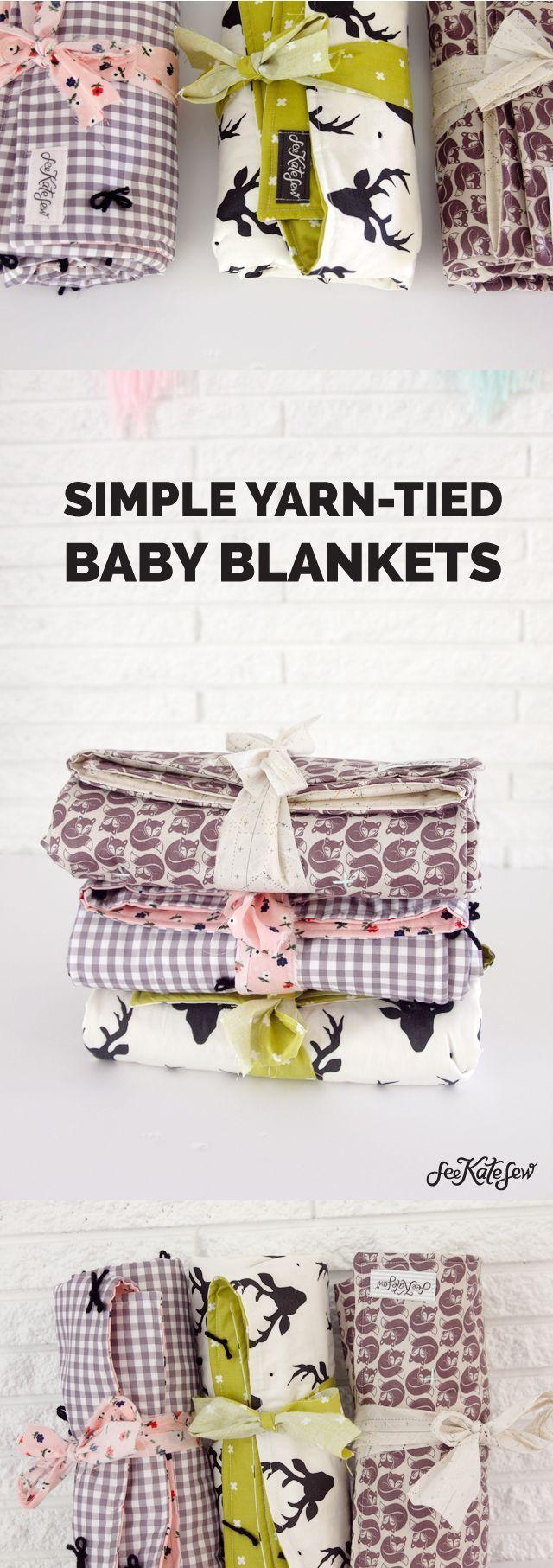 Simple Yarn Tied Baby Blanket | See Kate Sew