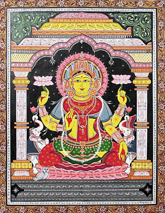 Lakshmi - Goddess of Wealth (Orissa Paata Painting on Canvas - Unframed))