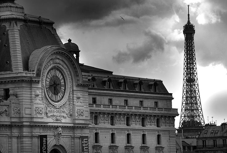 Paris, Seine river, Orsay museum, Eiffel tower