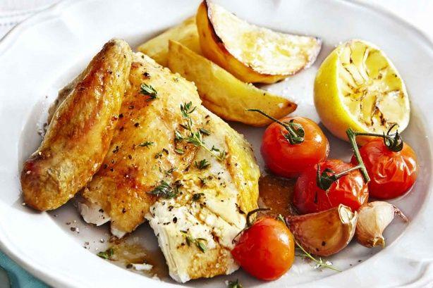 Lemon Garlic Roast Chicken - Makeover Sunday roast with this zesty lemon chicken by taste #Chicken #Roast_Chicken #Garlic #Lemon