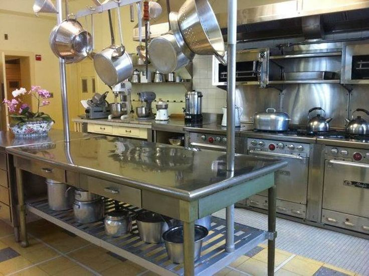 Kitchen , Kitchens Stainless Steel Island : Industrial Kitchen Stainless Steel Island With Pot Rack And Botton Shelf And Drawers