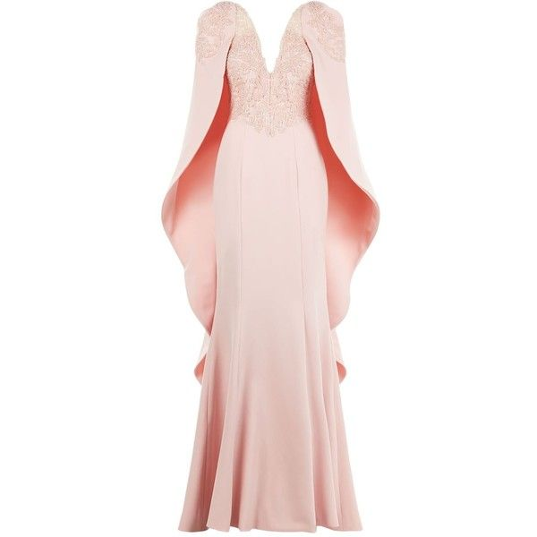 Mikael D Cape Mermaid Gown ($7,240) ❤ liked on Polyvore featuring dresses, gowns, pink formal dresses, formal ball gowns, formal dresses, floor length formal dresses and pink dress