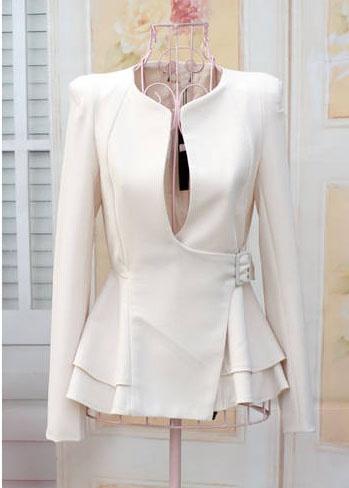 Stylish Slimming Fit Flouncing Hem Puff Long Sleeve Women's Suit Coat (BLACK,L), Blazers - fashiondresswholesale.com