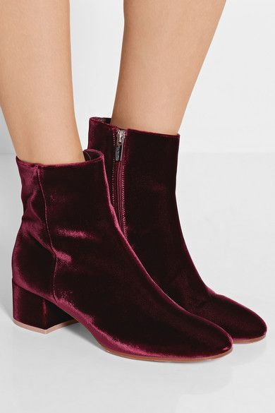 Heel measures approximately 65mm/ 2.5 inches Burgundy velvet Concealed zip fastening along side Designer color: Granata Made in Italy