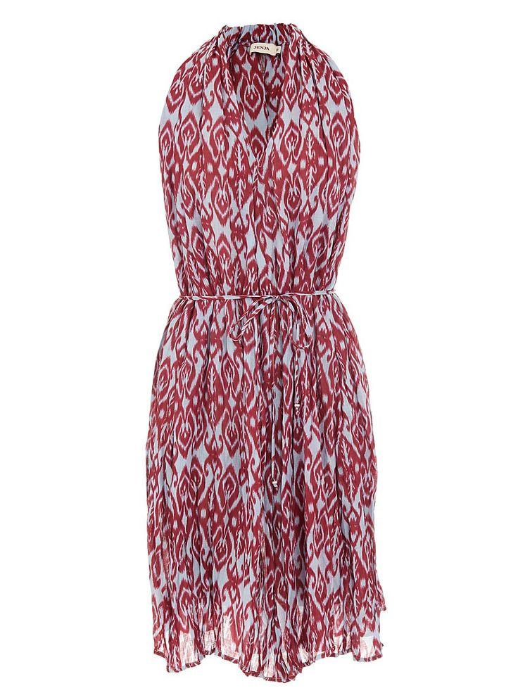 Halterneck ikat-print dress