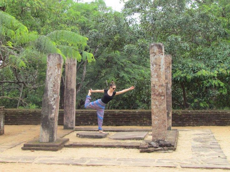 Finding Zen and my dancers pose amongst the ancient ruins #srilanka 💜✌🏼️