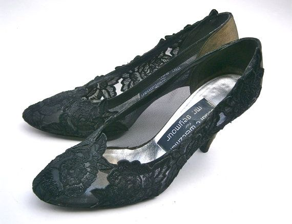 Sparkling black lace floral applique high heel pumps by Stuart Weitzman for Mr Seymour Lovely evening / formal vintage 80s ladies shoes made of black mesh / see through / netting over shiny olive green fabric Excellent shoes to match a dramatic evening wear Excellent craftsmanship with great attention to details Leather soles  Good condition; applique has retained its sparkle Flaws: There are dark smudges inside foot areas more than likely from shoes rubbing each other. Also a ...