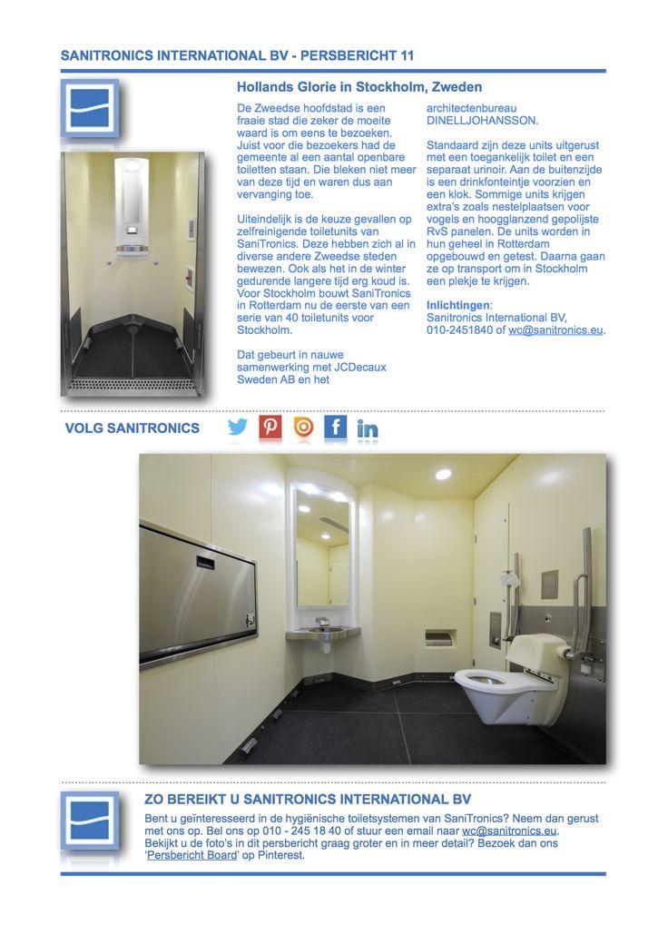 Persbericht 11 Hollands Glorie in Stockholm, Zweden, versie 01, deel 01. Expertise in openbare toiletten en zelfreinigende toiletsystemen.