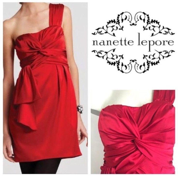 NANETTE LEPORE LA MAROCAIN RUBY RED TWISTED PLEATED ONE SHOULDER DRESS SZ 8 $348 #NanetteLepore #SheathDress