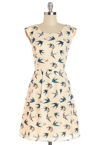 Swoop In and See Me Dress - Cream, Blue, Print with Animals, Pleats, Casual, A-line, Sleeveless, Good, Scoop, Mid-length
